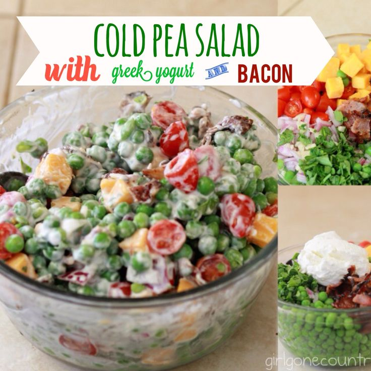Cold Pea Salad - with Greek Yogurt and Bacon