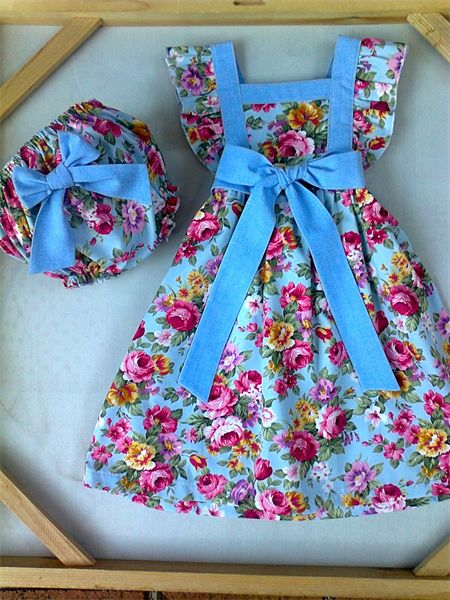 """Pretty """"Cottage Roses"""" Boo Pinafore/Bloomers ... 