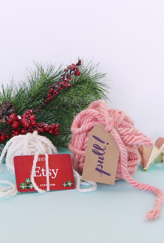 Gift Wrap Idea!  Yarn Ball Surprise!!!  Plus MORE Gift Card Wrapping Ideas from #Etsy #giftwrap #giftcard