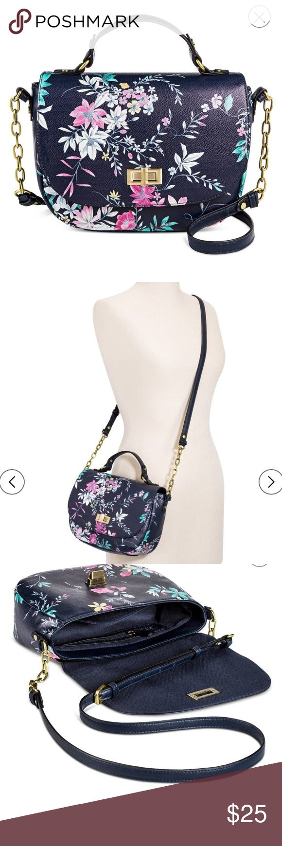 Cross body floral and navy purse New without tags cross body purse. Cute floral detailing and navy background Bags Crossbody Bags