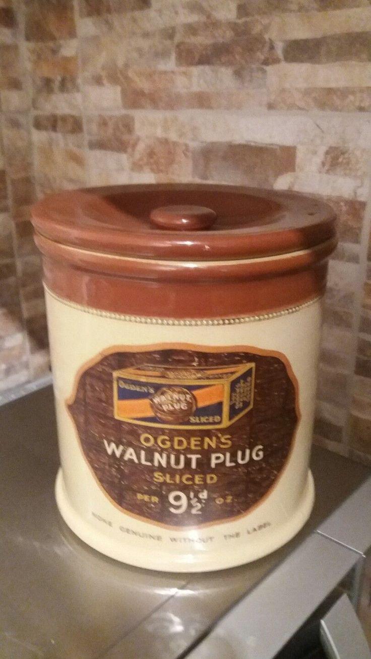 STONEWARE TOBACCO JAR WALNUT PLUG ADVERTISING JAR-RARE!