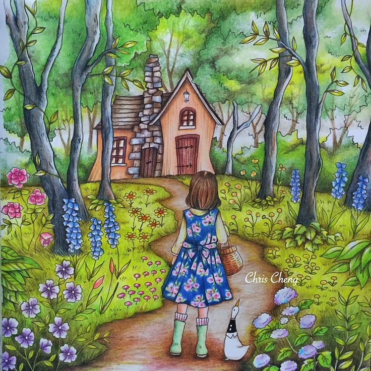 """Yowguste Forest and the Witch's House"" (Pg.47) from Romantic Country: Cocot- The Land of Beautiful Towering Castles (A Fantasy Coloring Book) An adult/artist coloring book, amazingly & beautifully illustrated by: Eriy (A Japanese toothpick illustrator & Artist) And beautifully and skillfully colored by: Chris Cheng (YouTube) @ColorvsColour. Her speed-coloring video on YouTube of her coloring this page so beautifully is called ""Into the Forest"" ....I love all of Chris Cheng's work, esp. In…"