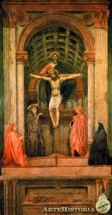 """Masaccio, """"La Trinidad"""", pertenece al estilo renacentista (Quattrocento) y data de 1425. En esta obra la ruptura es que es la primera vez  que se hace uso de la perspectiva para crear un espacio auténtico. He elegido esta pintura porque me ha parecido interesante la mezcla de la arquitectura en la pintura."""