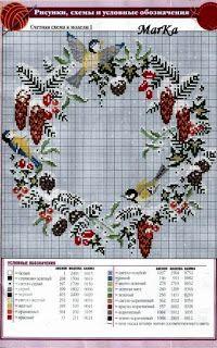 """Милые сердцу штучки: Новогодняя вышивка крестом: """"Рождественские венки"""""""