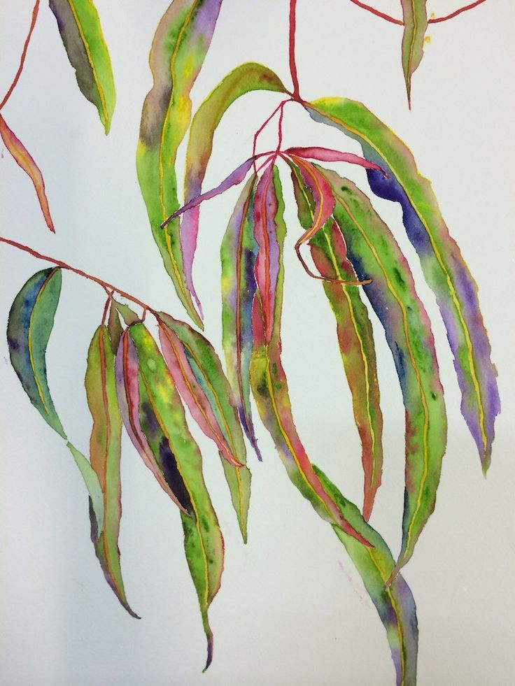 Watercolour leaves painted at a workshop with Pat Hall at Art 101, Fortitude Valley