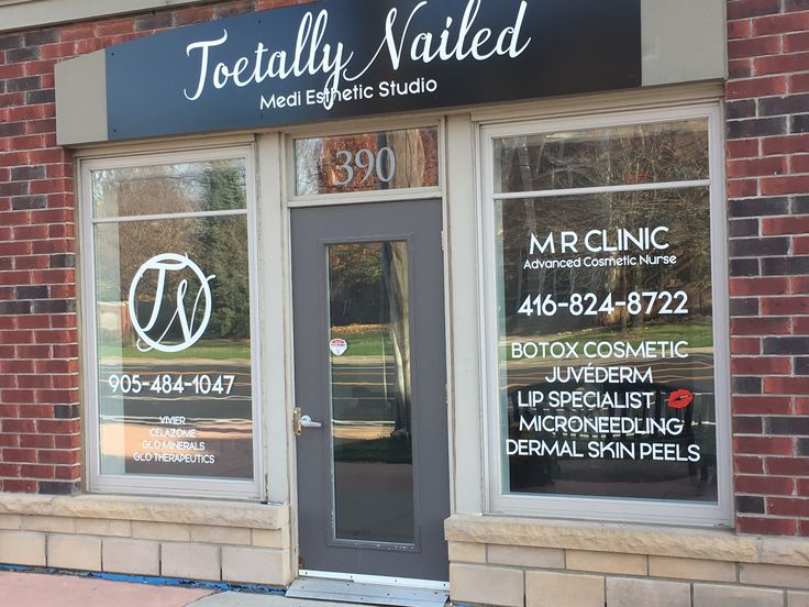 Toetally Nailed/MR Clinic-cut vinyl on Alupanel sign & cut vinyl graphics on windows. Completed by Speedpro Imaging Burloak.