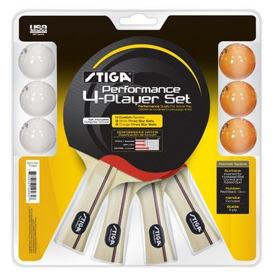Stiga Performance 4 Player Table Tennis Racket Set