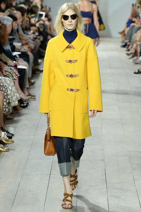 Michael Kors, yellow coat, denim pants, sandals, sunglasses