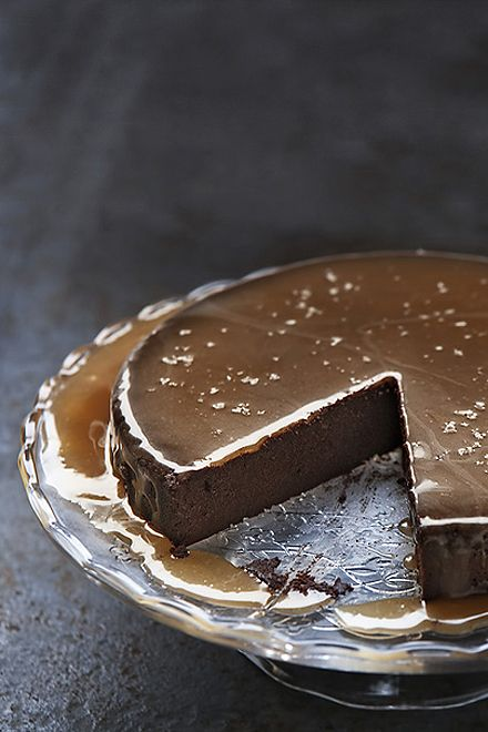 Chocolate Truffle Cake with Salted Caramel Sauce