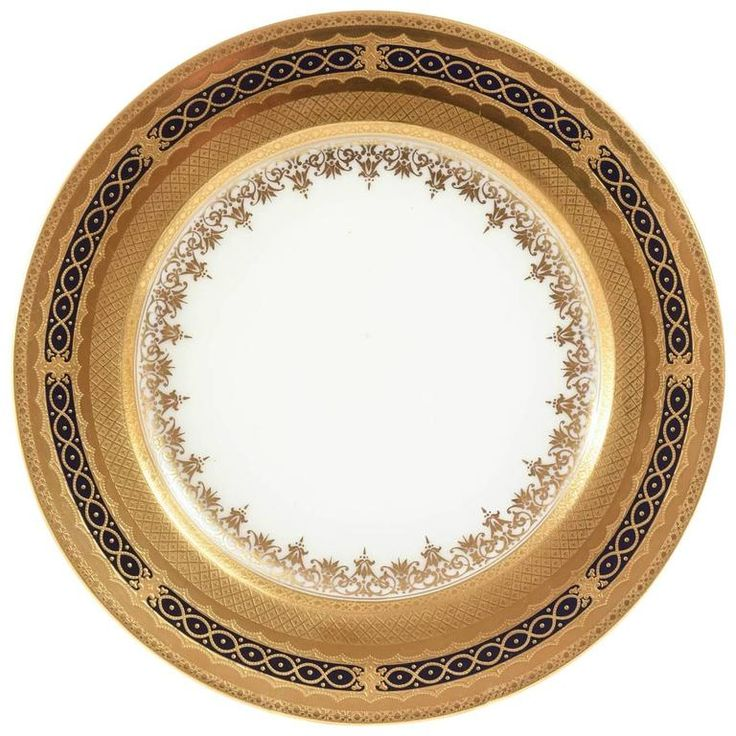 12 Stunning Antique Cobalt Gilt Encrusted Dinner Plates Coalport England, Early 1900 | From a unique collection of antique and modern dinner plates at https://www.1stdibs.com/furniture/dining-entertaining/dinner-plates/