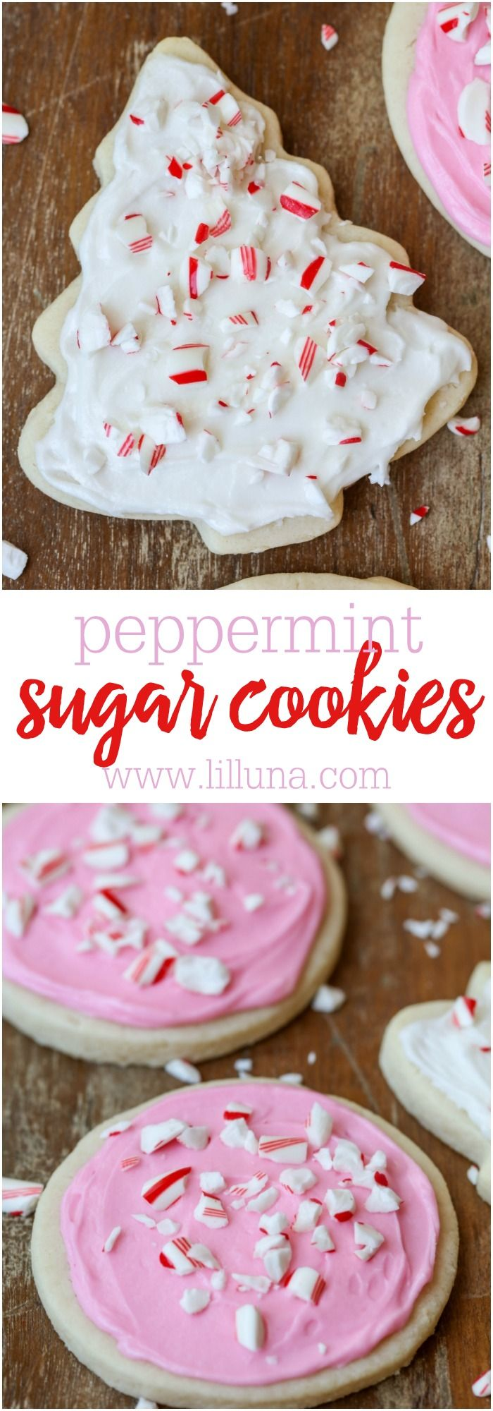 Peppermint Sugar Cookies - the softest sugar cookie with hints of peppermint and topped with a creamy peppermint frosting and candy cane pieces.