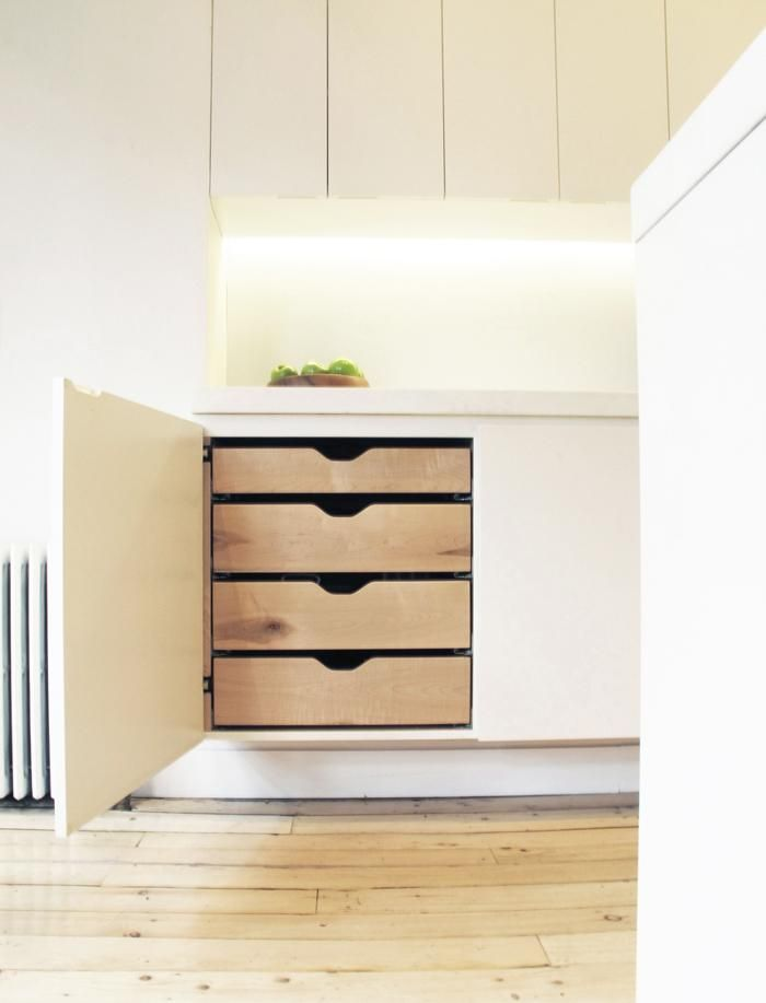 Julian King Architect: Chelsea kitchen cabinet with wood shelves