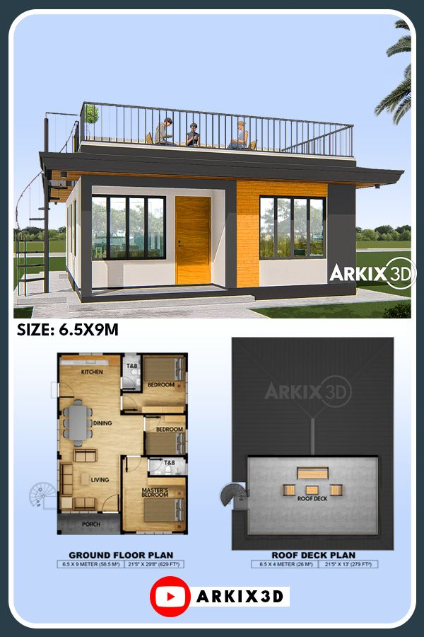 Small House With Roof Top 58 Sqm No23 Small House Design Plans Little House Plans House Construction Plan
