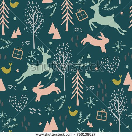 Seamless vector pattern with reindeer, hair, trees and presents in Scandinavian style for backgrounds, textile and covers