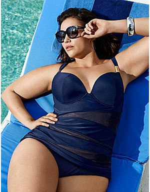 Full Figure Illusion Swim Tank with built in Plunge Bra by Cacique | Lane Bryant