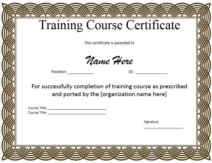 10+ Training Certificate Templates Free Printable Word  PDF