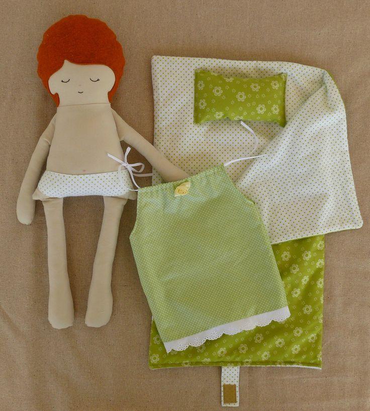 Fabric Doll Rag Doll with Sleeping Bag.