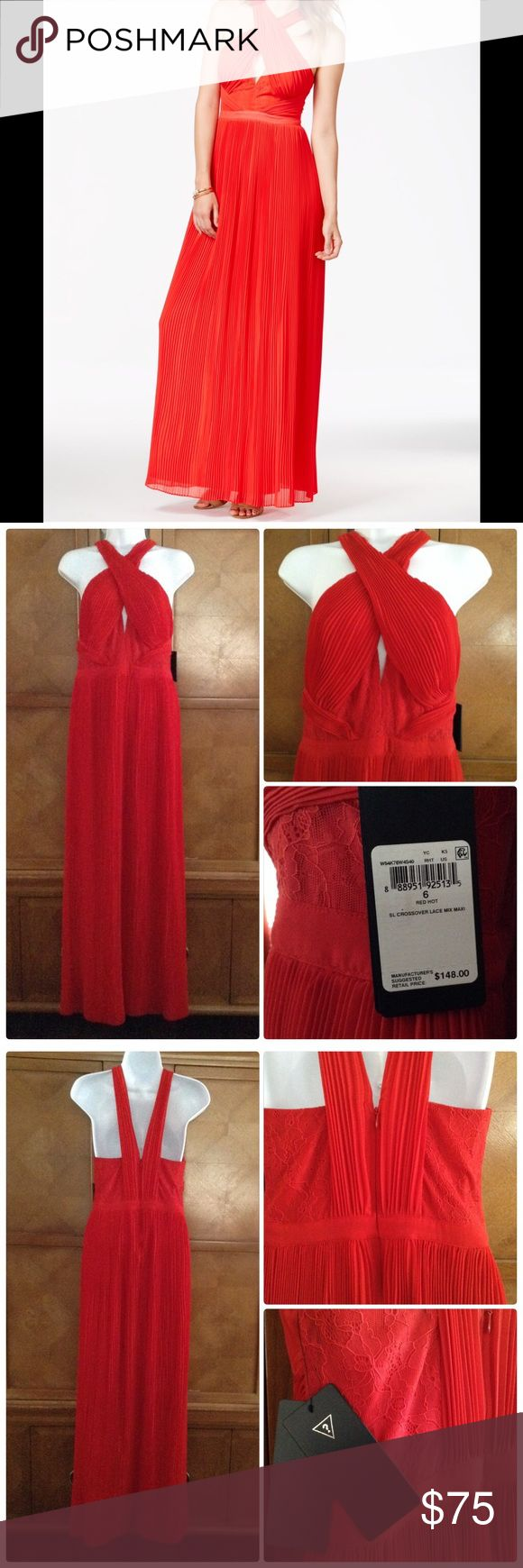 "Lady In Red (Guess Dress) Look stunning in this red maxi dress. Pleated cross-front high neck dress. Has cut out at bust (see pics). Never been worn. Measurements: Length=59"". Empire Waist=14"". Underarm to underarm=16"". Guess Dresses Maxi"