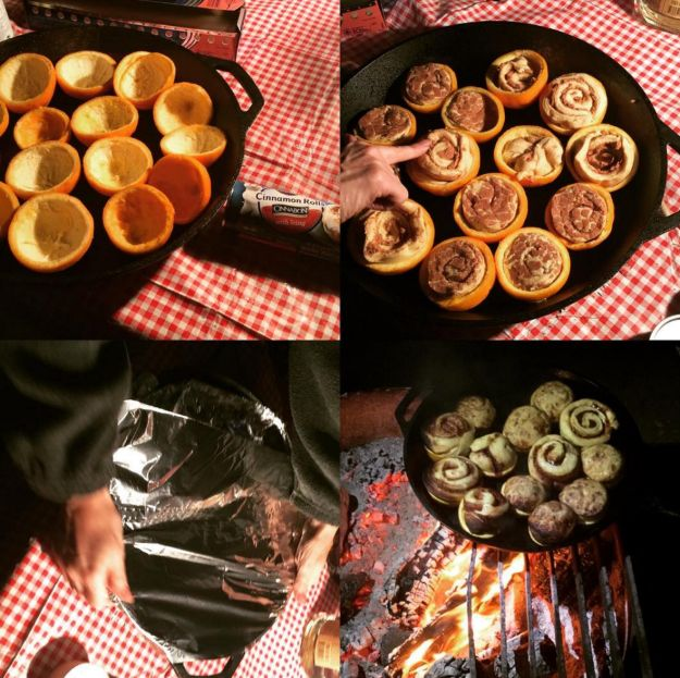 It also works with cinnamon rolls!   20 Camping Food Hacks That Will Blow Your Mind