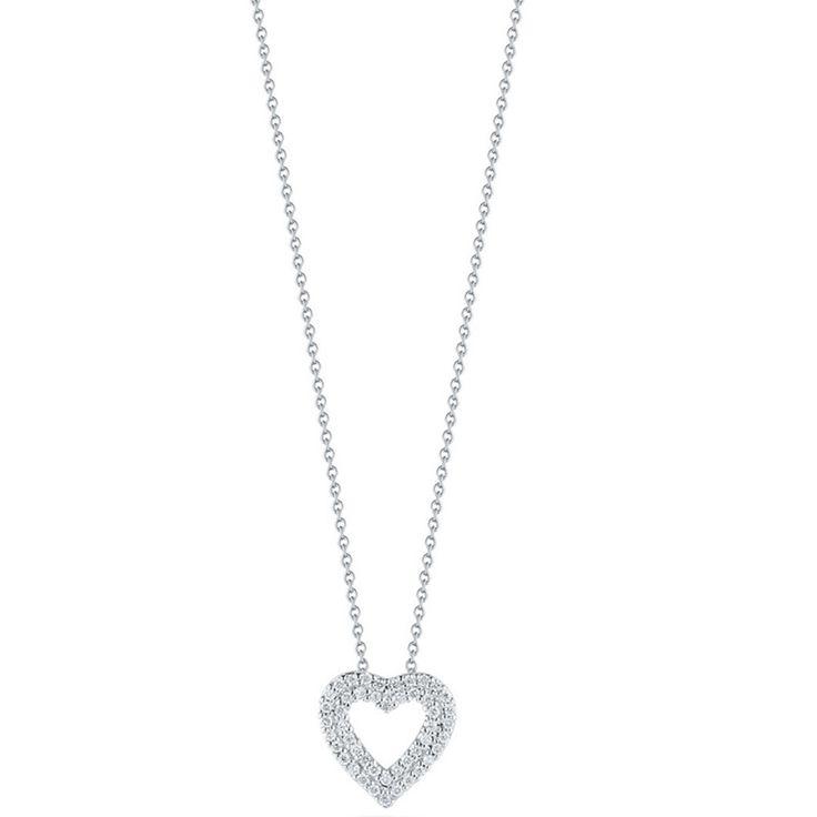 18k White Gold & Diamond Heart Necklace - 000903AWCHX0 - Roberto Coin