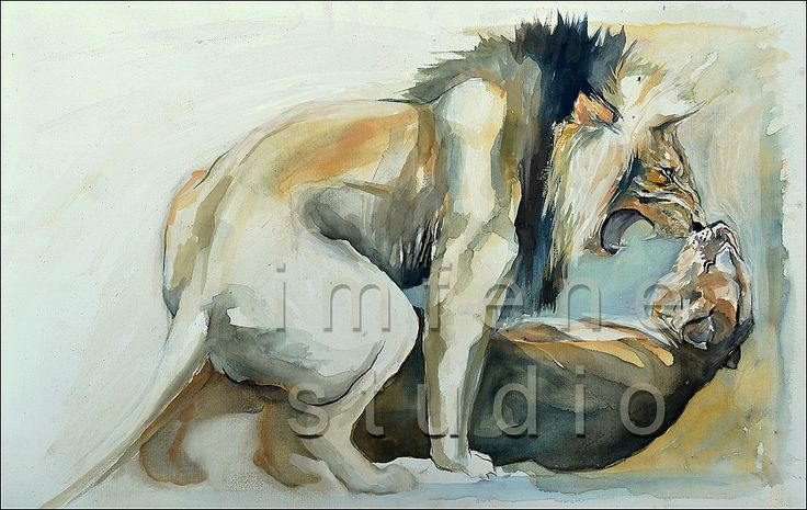The African Lion is in Crisis!  Painting by Karin Saks