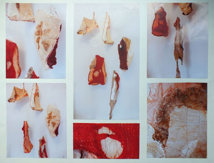 Hanging meat installation  Textiles skin project using wax, knitting, glue and tea bags.. distressing materials