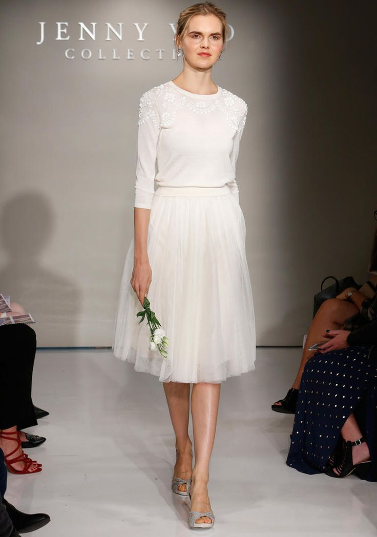 Jenny Yoo Fall 2016 wedding sweater skirt set with beading on neck and shoulders and tea length tulle skirt | https://www.theknot.com/content/jenny-yoo-wedding-dresses-bridal-fashion-week-2016