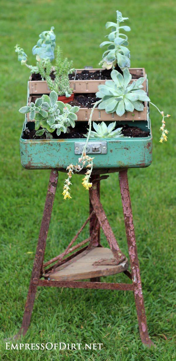 Plant a succulent fishing tackle box: 9+ DIY Succulent Garden Ideas at empressofdirt.net