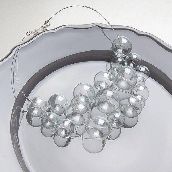 Collana in vetro di grande bolla vuota trasparente di KatyaGlass