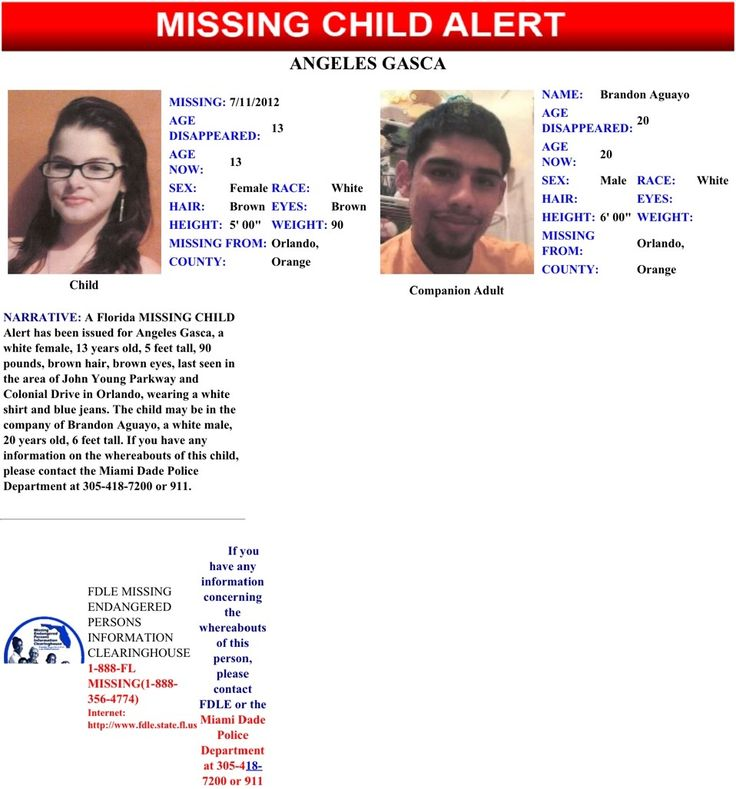 missing children from 2012 | FL Missing Child Alert, Angeles Gasca | MIssing Children Task Force