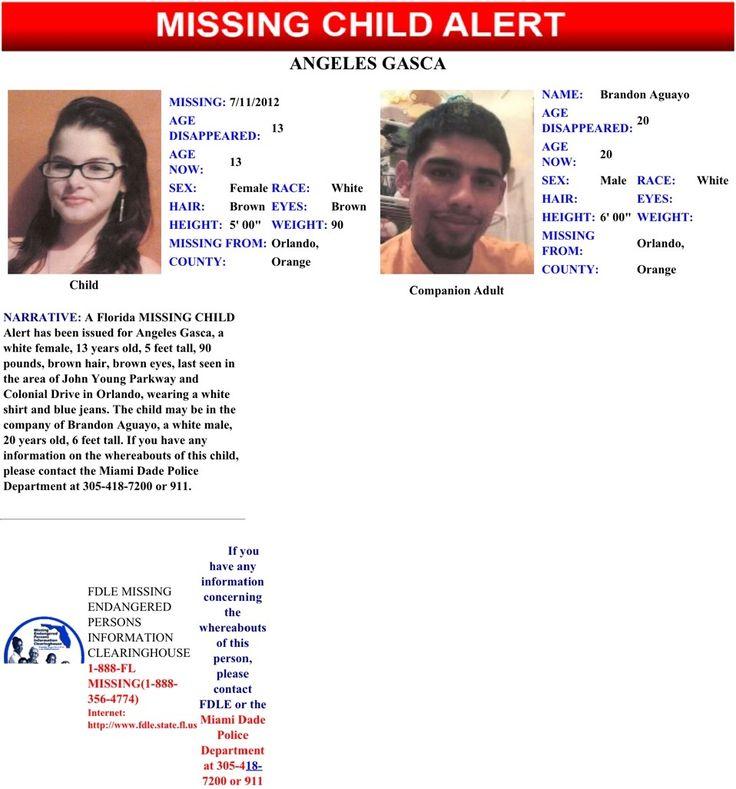 missing children from 2012 | FL Missing Child Alert, Angeles Gasca | MIssing Children Task Force