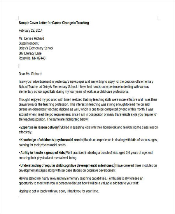 Cover Letter Template Career Change Cover Letter For Resume