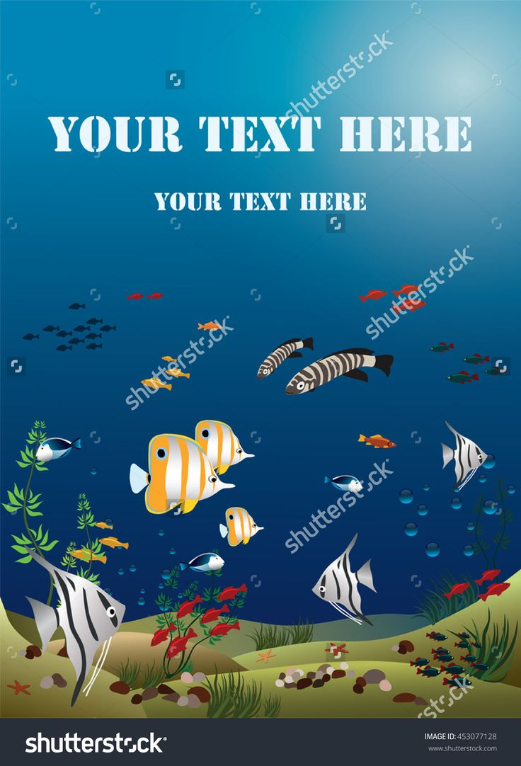 Vector Illustration Of Aquarium Width Tropical Fishes - 453077128 : Shutterstock