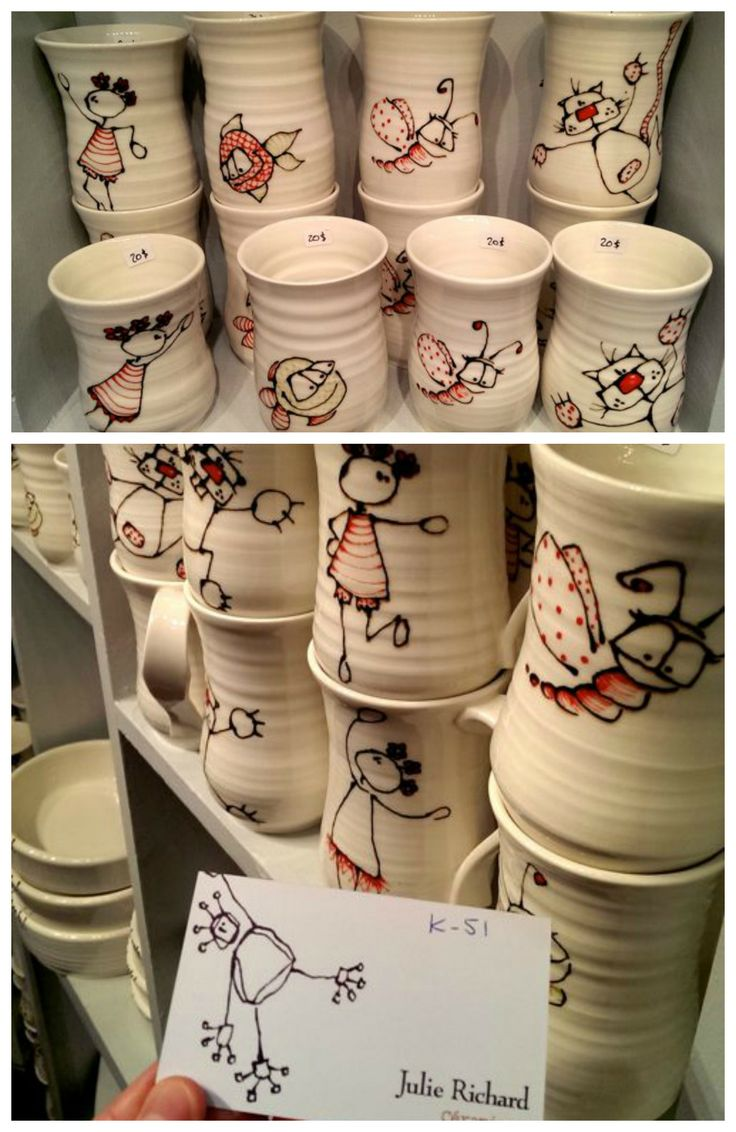 The darling ceramic designs by Julie Richard will delight both kids and kids at heart. Spotted at the #OOAK Christmas Show, Toronto 2013. http://www.julie-richard.com/