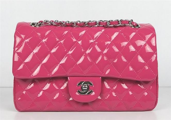 Chanel 2.55 Bags 01112 Hot Pink Patent Leather Silver Chain