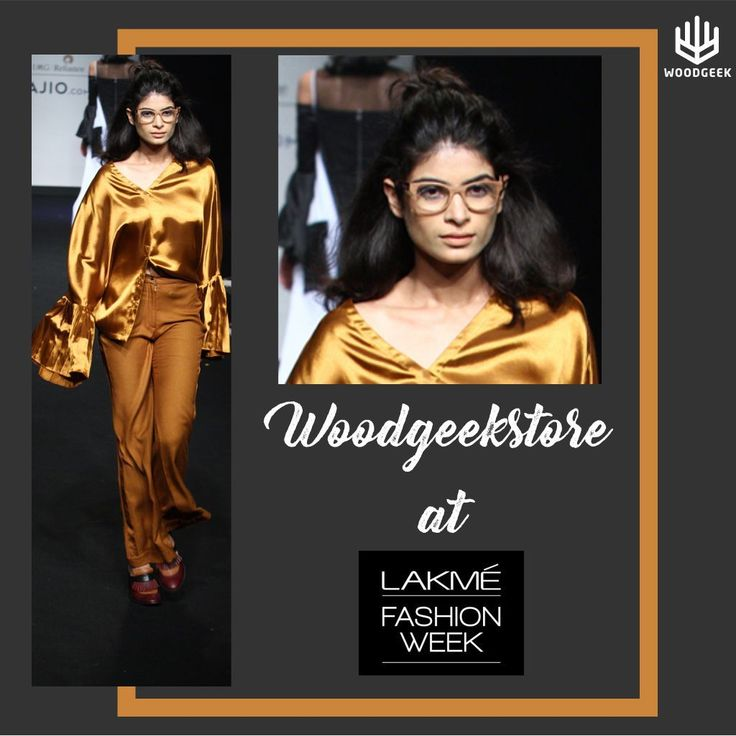 Wodgeek Glasses at Lakme Fashion Week: A model walks down the runway in a metallic satin bell-sleeved shirt, flared pants from Quo by Ishita Mangal and wooden glasses from Woodgeek Store. OurMinimalist wooden geeky frameskeep to the colour tone of the outfit perfectly. #lakmefashionweek #woodenglasses