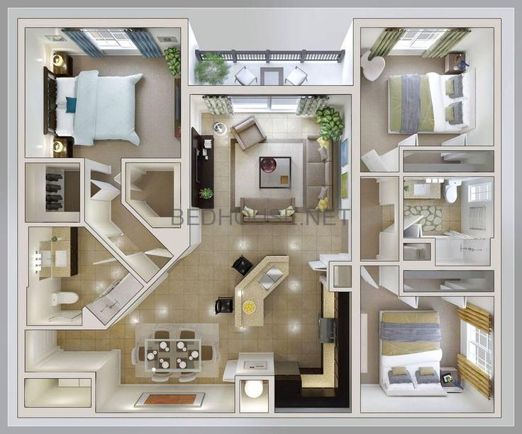 Bed Room Structure Concepts Small Three Bed Room Home Plan Dwelling Properti Bed House Three Bedroom House Plan House Layouts Sims House Plans