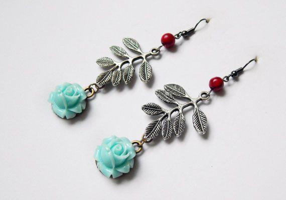 Leaf and flower earrings by NotInDiamond on Etsy, $10.00