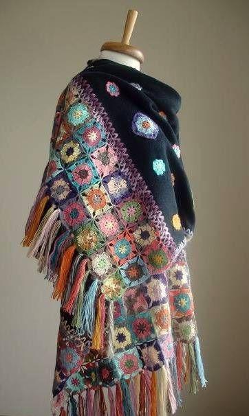 xale de crochê de lã