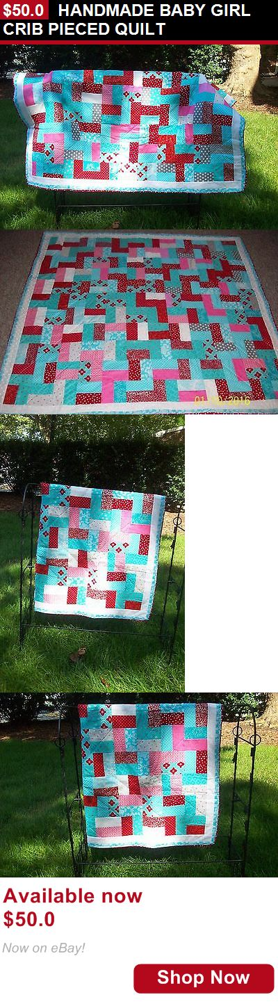 Quilts And Coverlets: Handmade Baby Girl Crib Pieced Quilt BUY IT NOW ONLY: $50.0