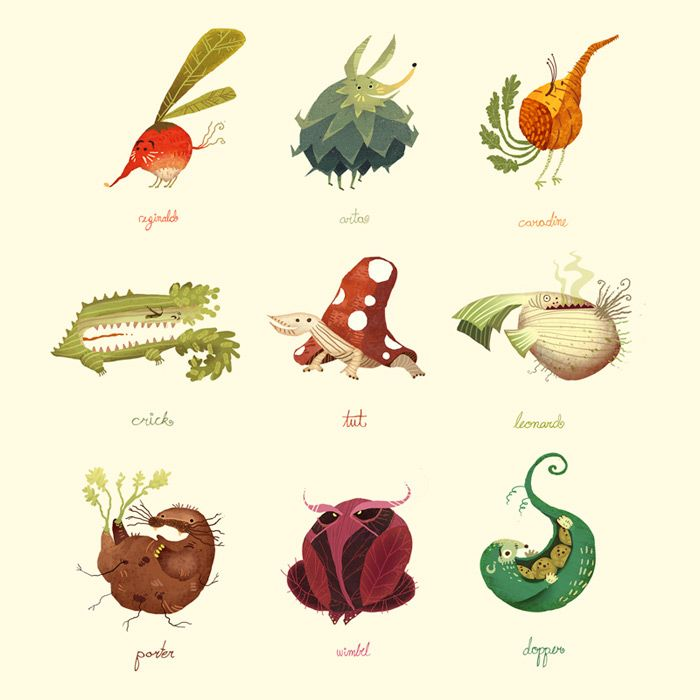 Vegetimals by Scummy (Devian Art) A concept for a Tamagotchi kind of toy, with vegetable animals instead of regular pets!