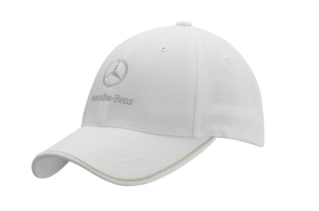Golf hat white B66954831 Material information:     92% polyester / 8% elastane  Pique mesh, 92% polyester/8% elastane. White with subtle stripe on peak.  Silver-coloured Mercedes-Benz star logo embroidered on front.  Patented Flexfit® band.