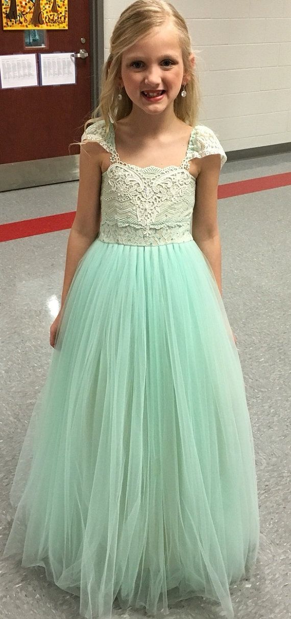 MAGIC Mint Green Flower Girl Dress/ Birthday Tutu Dress/ Girl Photoshoot outfit/ Girls Tutu Dress/ Floor length mint green tutu dress girls