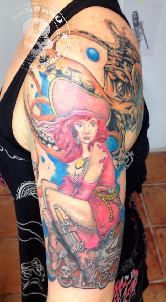 #tattoo #tattooed #tattooist #tattoogirl #piratetattoo #piratetattoogirl #colortattoo #octopustattoo