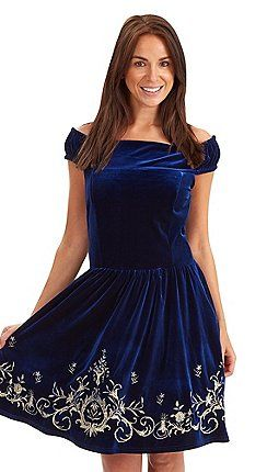 Joe Browns - Dark blue baroque velour dress
