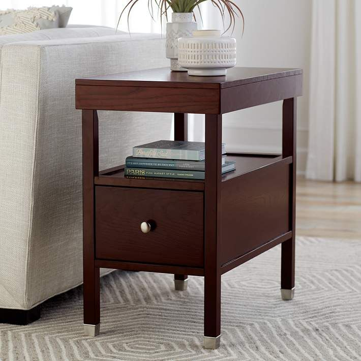 Huntley Espresso 15 1 4 Wide Narrow Chairside Accent Table 45p38 Lamps Plus Chair Side Table Tv Stand With Storage Mirrored Accent Table
