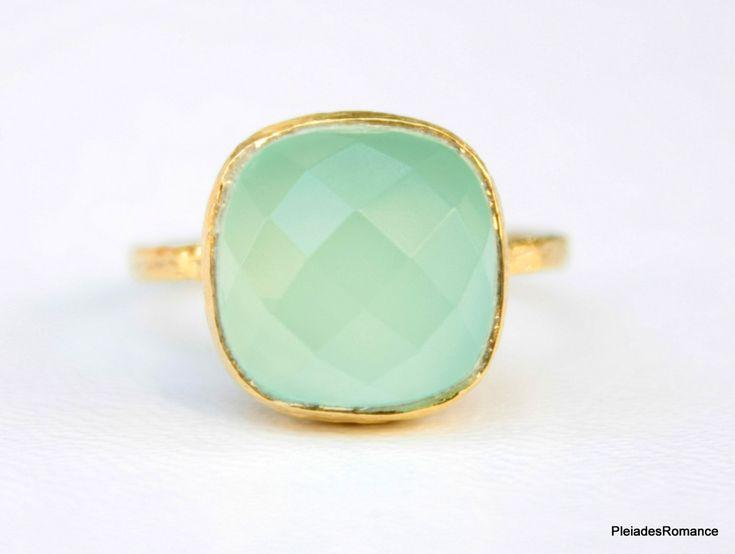Aqua Mint Gold Ring  Mint color Gemstone Ring  by PleiadesRomance, $58.00