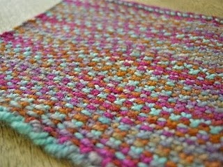 knitted mug rug (love the colors and texture in this one!!)