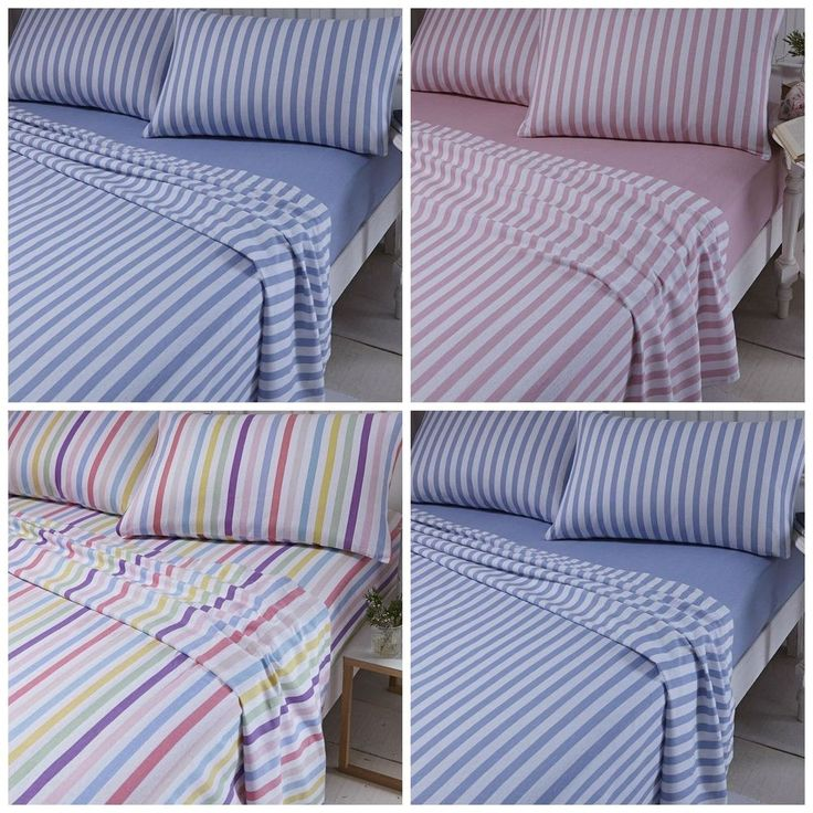 Catherine Lansfield Striped Brushed Cotton 100% Cotton Sheet Set