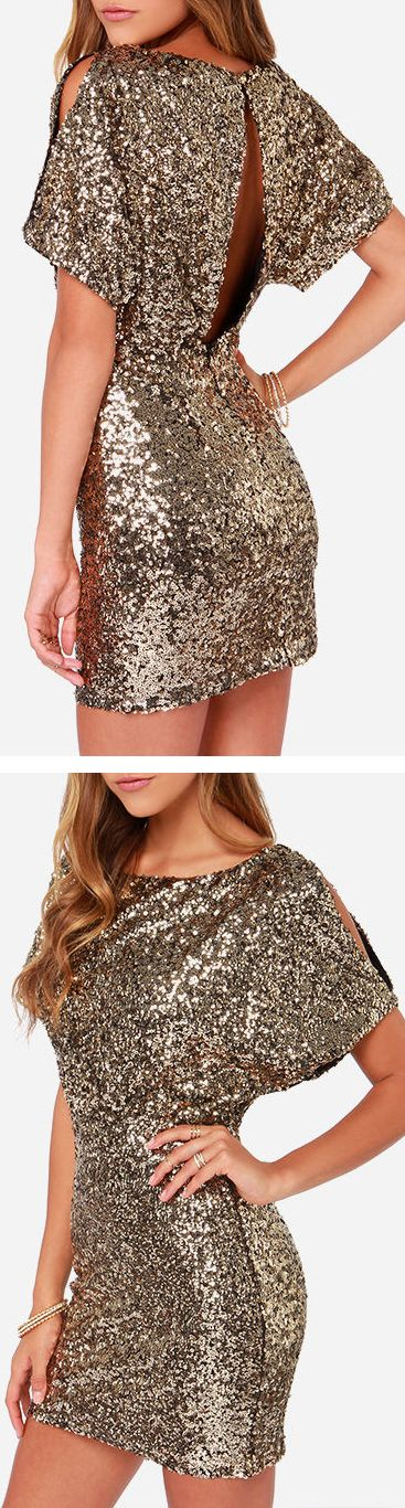 Sparkle sequins gold dress // LOVE.